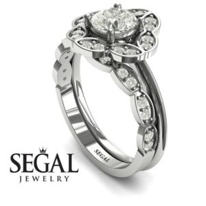 Unique engagement rings - Set Diamond Ring- Lucy no. 3
