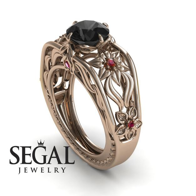 engagement ring segal with black diamonds
